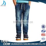 Bulk wholesale snowflake wash sky blue jeans pants for boys