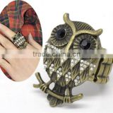Vintage Antique Bronze Rhinestone Owl Halloween Ornaments Elastic Rings 18.3mm