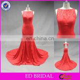 LN136 Latest Lace Mermaid Red Chapel Train Real Sample Sexy Back Open Evening Dress
