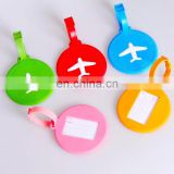 custom color round soft rubber luggage tag for sell