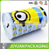 FANCY cylinder metal tin coin bank with inserting removeable lid wholesale