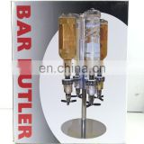 4 Bottles Bar Caddy Liquor Dispenser Bar Bulter
