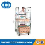 Warehouse folded wire mesh logistic cart