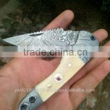 "udk f35"" custom handmade Damascus folding knife / pocket knife with Camel bone and Damascus steel booster handle"
