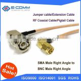 Hot sale!!RF Wireless patch leads cable SMA Male To BNC Male right angle adapter RG58 50CM