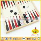 wooden 3 in 1 wooden games box and wooden backgammon board with game pieces and chess checker backgammon set