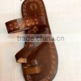 Dobbytex 1009 Light brown carved Handmade African Men Leather sandals Hmong/Mien/Miao/Summer