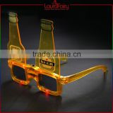 Laura Fairy Custom Logo New Design Yellow Frame Beer Bottle Shaped Party Sunglasses