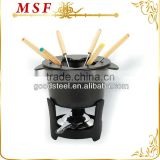 MSF-3508 10pcs fondue set cast iron fondue set color-coded forks with wooden handles