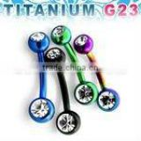 "Titanium G23 anodized banana belly ring w/ double gem - 14g, 3/8"", 5mm & 6mm balls"