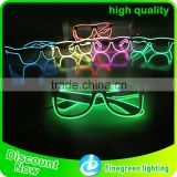 Crazy funny club amazing plastic EL wire flashing 3D luminous/noctilcent/fluorescent diffraction glasses party glasses