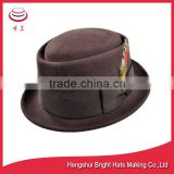 felted wool porkpie hat with feather