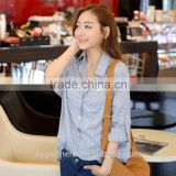 Women's fashion sky blue color plaid shirt lady blouse