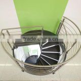 save space steel centre pole spiral staircase with wood steps and stainlesss steel rod raling