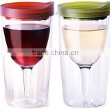Wine Tumbler Glass by 10 Oz Double Wall Acrylic Tumbler