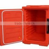 Insulated front-loading food pan carrier red colour