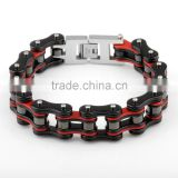 "3/4"" wide men black&red plated stainless steel motorcycle heavy chain bracelet roller wide bike chain low moq bracelets                                                                                                         Supplier's Choice"