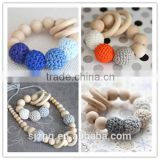 Crochet wood baby teething bracelet necklace crochet baby teething ring nursing gift                                                                         Quality Choice