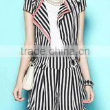 Stripe Black and White Women Jacket Suit Coat Elegant Slim Design Short Sleeves with Short Hot Pants 2014