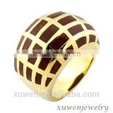 brown enamel stainless steel 18k white gold plated ring