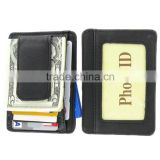 Printed grain cow hide leather money clip with magnet leather custom wallet money clip