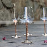 2015 new design lead free clear crystal 200ml wine goblet with rose gold plating stand