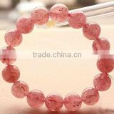 10mm natural nice strawberry quartz semi- precious beads stretch bracelets