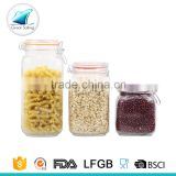 home use airtight glass food storage jars suppliers with clamp lid