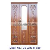 3 Doors Wooden Wardrobe with Mirror, Modern Design of Wardrobe Furniture for Bedroom, MDF Bedroom Set