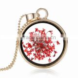 Beautiful real flower necklace for women gold chain glass bottle wishing pendant Plant specimens fancy necklace
