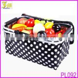 New Eco Friendly Oxford Fabric Collapsible Reusable Cooler Bag Folding Picnic Shopping Basket Black