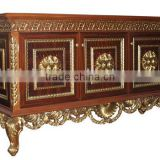 Vintage Style Wooden Sideboard, Antique Wooden Carving Buffet, Luxury Dining Room Painted Decorative Side Cabinet