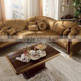 Superior And Luxurious Brown Color Wooden Hand Made Corner Sofa Set With Cushions/Pillows(MOQ=1 SET)