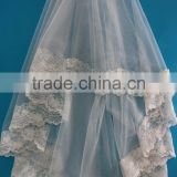 New design bridal veil embroidery tull fabric beaded flower lace trim