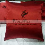 satin cover with cotton filling pp cotton cushion case with zipper embroidery logo satin cushion