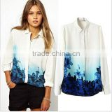 S-L New Women Print Chiffon Blouse Hot Sale Gradient Blue Flower Printed Shirt Korean Version Turn Down Collar Blouse