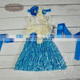 5sets/lot Cream&Blue Lace Dresses Matching Headband and sash belt