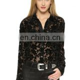 2015 Summer New Styles Ladies Custom Fashion Design Tops Embroidered Mesh Crochet Tunic Casual Blouses For Women