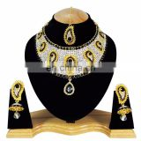 Gold Plated Indian Handmade Ethnic Party wear Kundan Zerconic Necklace set Dark Black Color