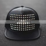 Studs Leather Snapback Cap Hat - leather Metal Punk snapback caps - Stud Spike Black Leather Snapback Cap - Custom stud spike ha