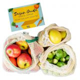 BIO fruit & vegetable bags 3-set INKL. Season guide-fruit nets and vegetable nets for plastic-free shopping-shopping nets