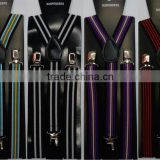 Mens white black striped clip-on Unisex suspenders womens braces