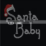 Unique Design Elegant Crystal Santa Baby Rhinestone transfer with Christmas hat