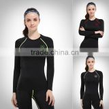 OEM ODM FACTORY 2016 wholesale women customized shirt/fitness compression yoga wear