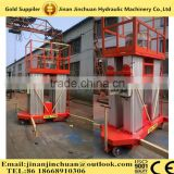 mobile hydraulic electrical four mast aluminum alloy man lift platform/electric aerial work platform