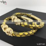 2016 New Twins Skull Leather Bracelet For Whatch Mens Watches Genuine Python Leather Skin