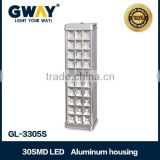 High quality emergency light with 30pcs of 5-6LM 3528 SMD LED,rechargeable aluminum housing and saving emergy light