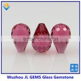 Synthetic Pink Teardrop Checker Cut Glass Gems Wholesale Beads