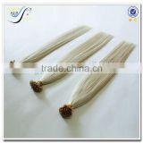 Wholesale russian style silky straight 100% virgin human hair white color flat tiop hair extension