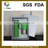 promotion stainless steel boxed gift set with one thermos vacuum flask and one travel mug